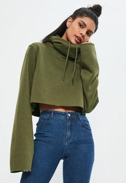 Krótka bluza z kapturem z długimi rękawami w kolorze khaki