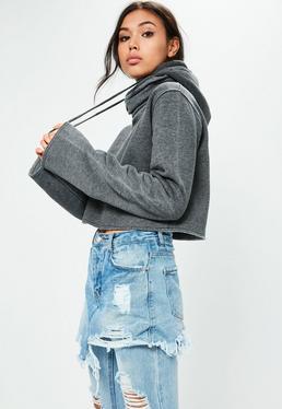 Grey Cropped Extreme Sleeve Hoodie