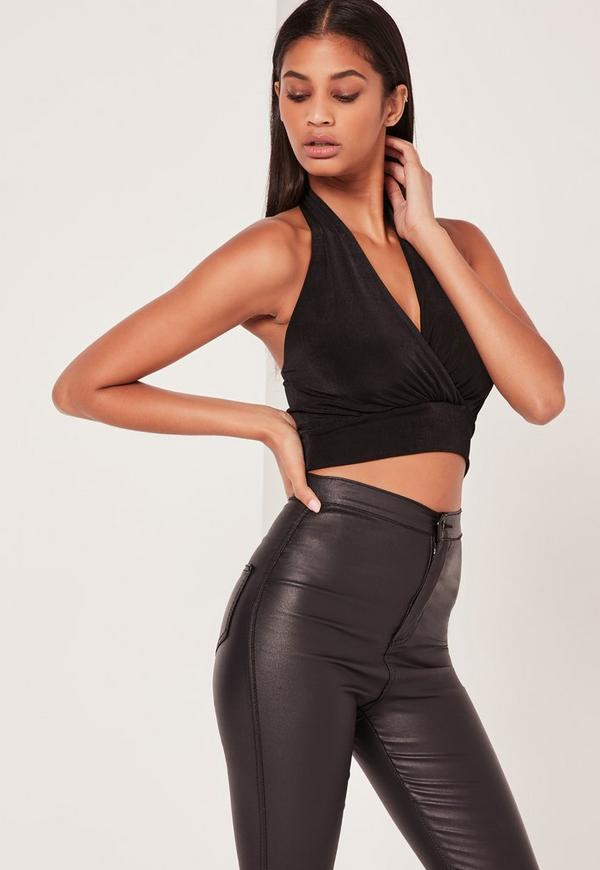 Slinky Halter Plunge Crop Top Black