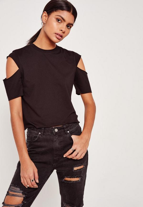 Black Open Sleeve Cropped T-Shirt