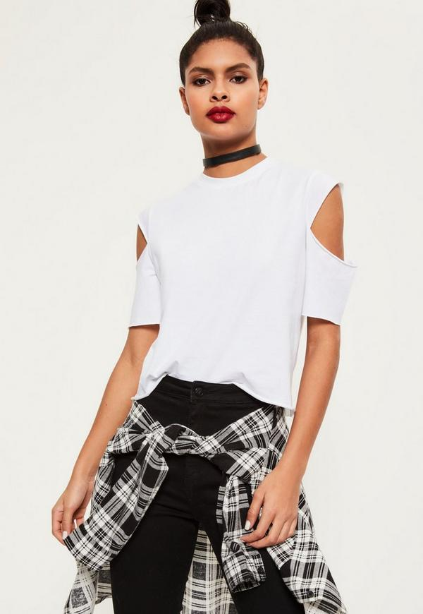 Open Sleeve Cropped T Shirt White