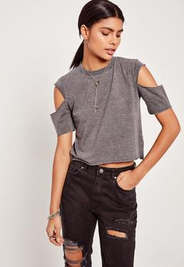 Grey Open Sleeve Cropped T-Shirt