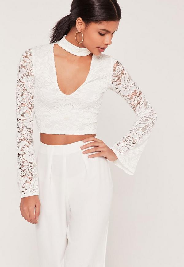 Lace Choker Neck Flare Sleeve Crop Top White