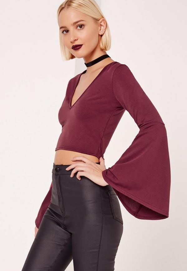 Flared Sleeve Crop Top Burgundy