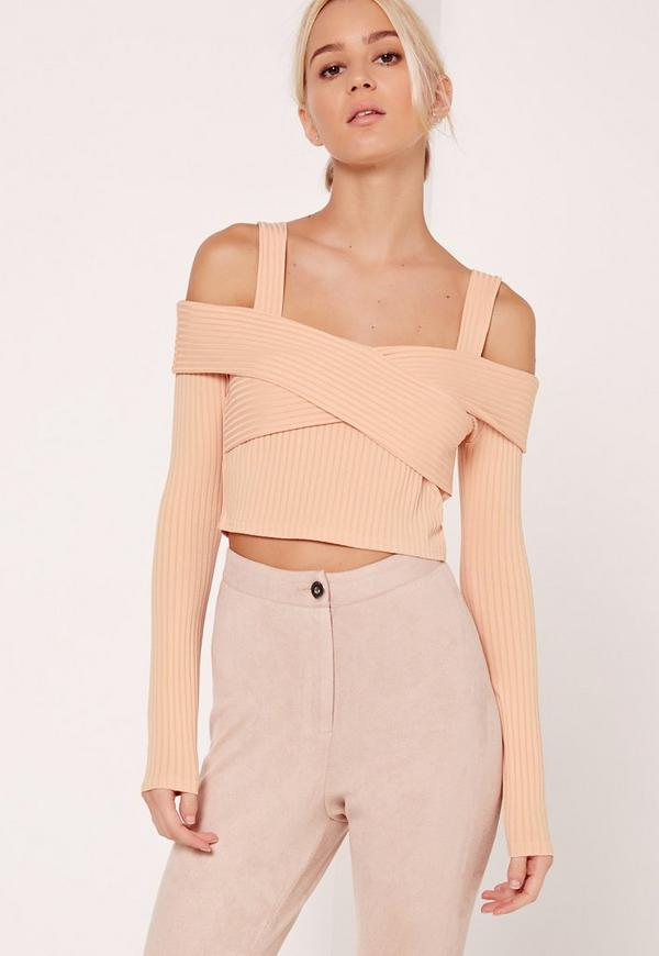 Ribbed Supported Bardot Crop Top Nude