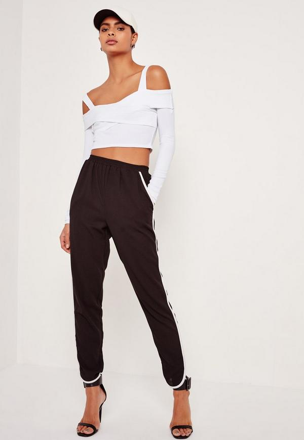 Ribbed Supported Bardot Crop Top