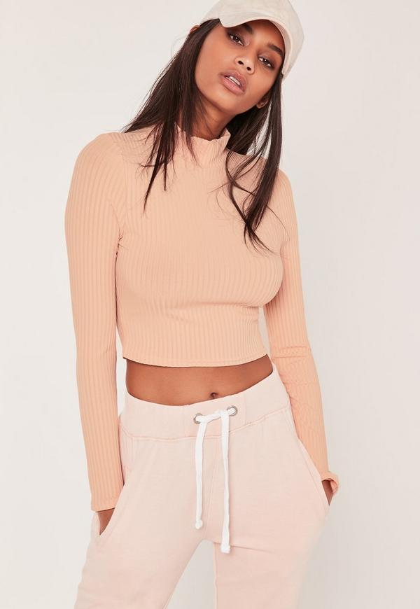 Ribbed High Neck Crop Top Nude