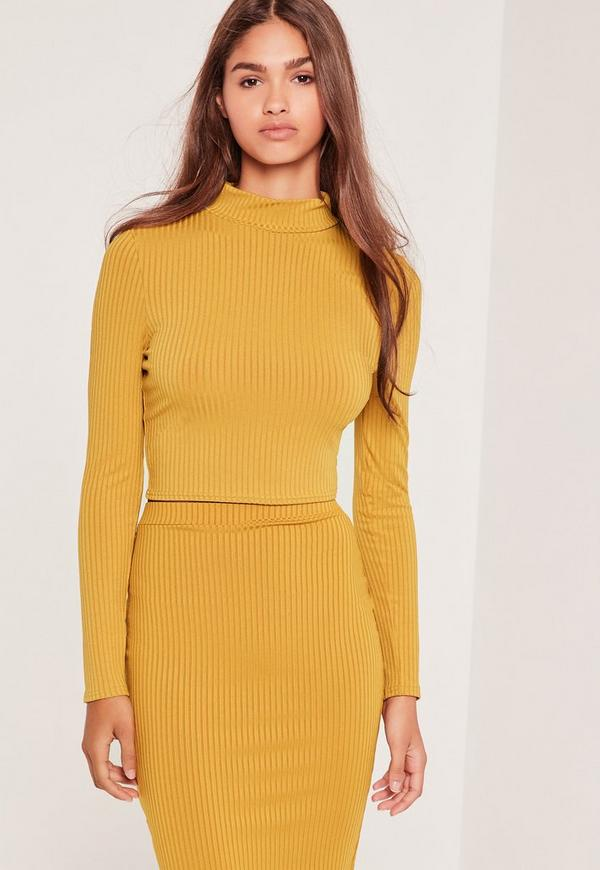 Ribbed High Neck Crop Top Yellow