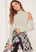 Green Jumbo Ribbed Cut Out Detail Sleeve Crop Top