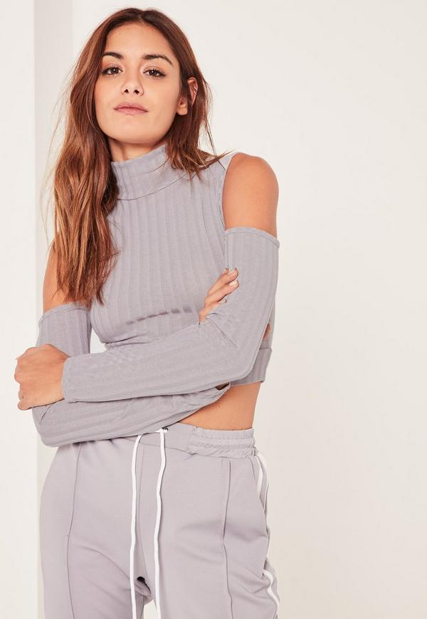 Grey Jumbo Ribbed Cut Out Detail Sleeve Crop Top