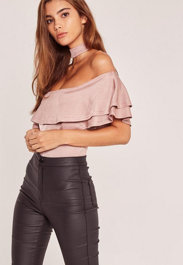 Choker Neck Frill Bardot Bodysuit Pink