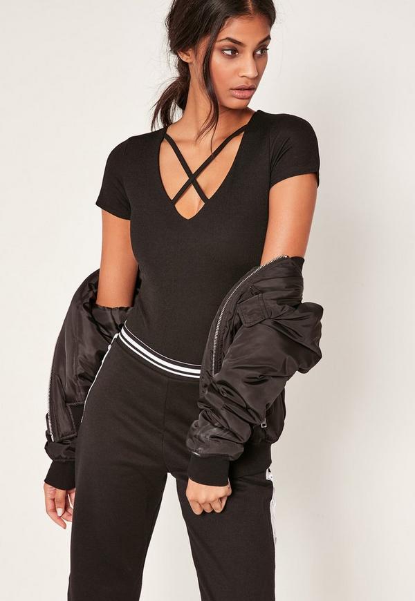 Black Harness Neck Short Sleeve Bodysuit