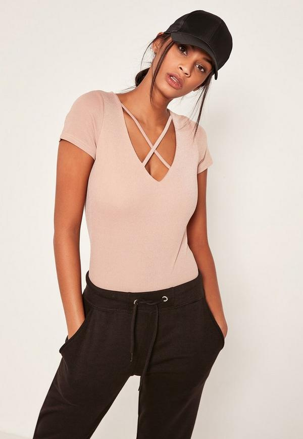 Pink Harness Neck Short Sleeve Bodysuit