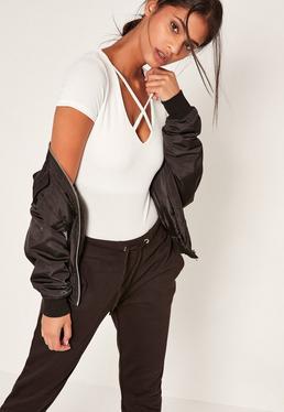 White Harness Neck Short Sleeve Bodysuit