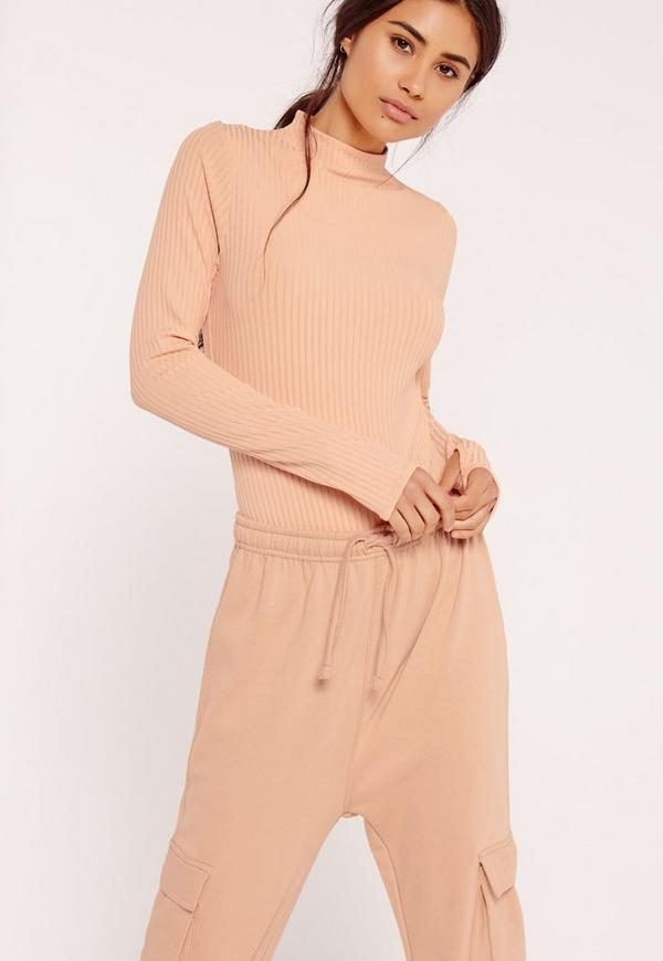 Ribbed High Neck Thumb Hole Bodysuit Pink