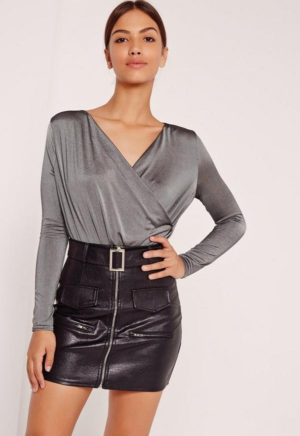 Slinky Wrap Drape Neck Bodysuit Grey