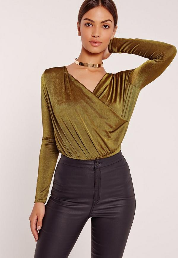 Slinky Wrap Drape Neck Bodysuit Green