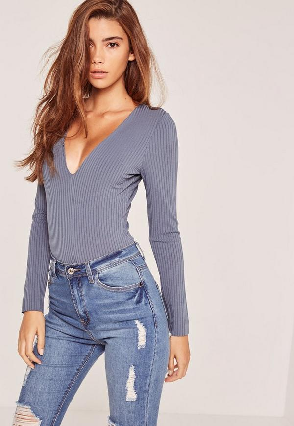 Ribbed Plunge Bodysuit blue