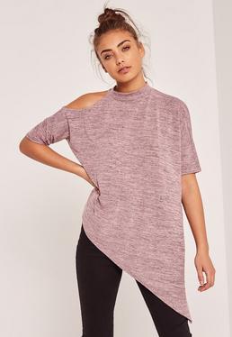 Cold Shoulder Choker Neck Tunic Pink