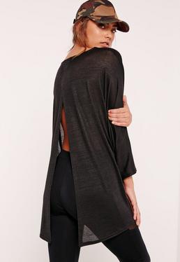 Split Back Tunic Black