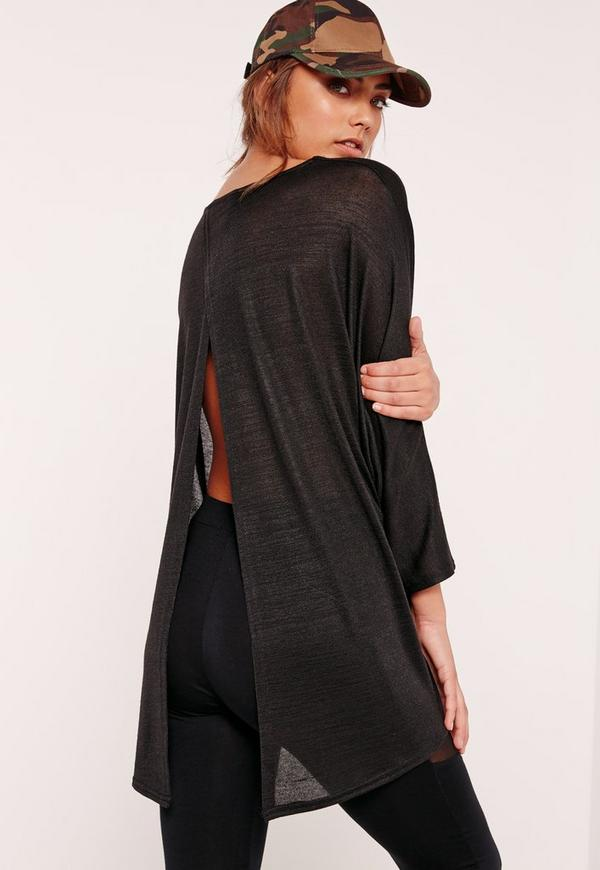 Split Back Tunic Black