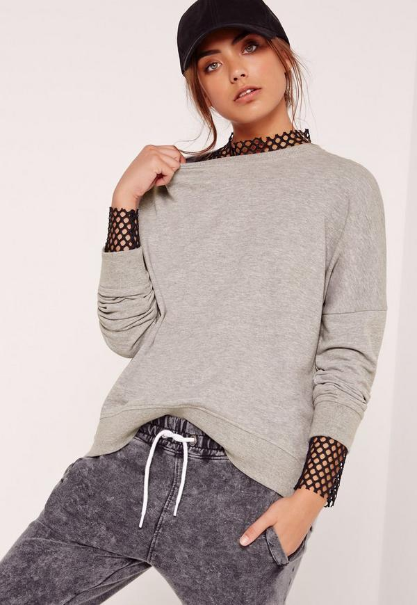 Curve Hem Sweatshirt Top Grey