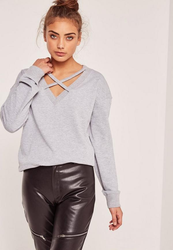 Grey Cross Front Sweatshirt