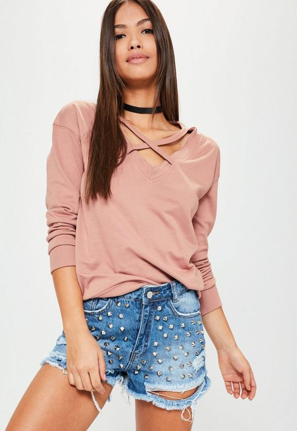 Pink Cross Front Sweatshirt