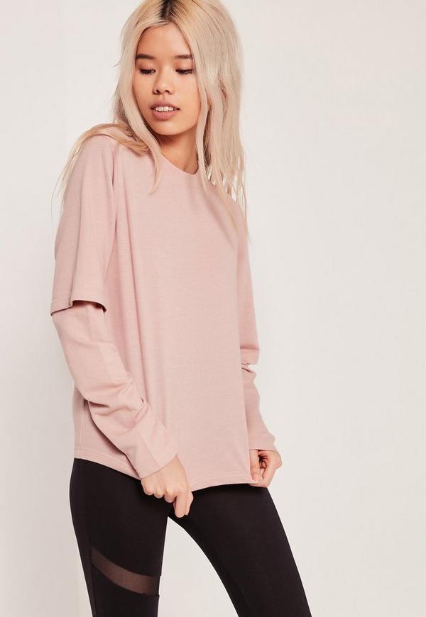Double Layered Sleeve Sweatshirt Pink