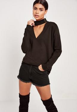 Black Choker Neck Sweatshirt