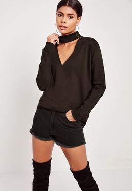 Choker Neck Sweatshirt Black