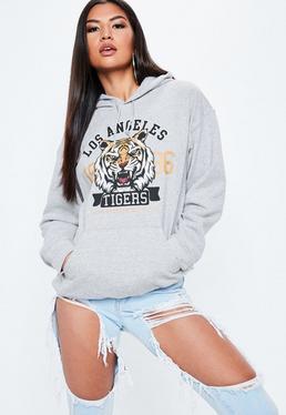 """Sweatshirt mit """"LA Tigers""""-Grafik in Grau"""