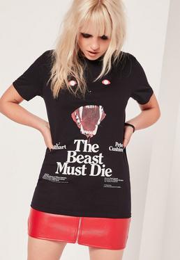 T-shirt noir à message The Beast Must Die