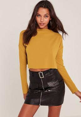 Yellow Crepe Wide Neck Crop Top