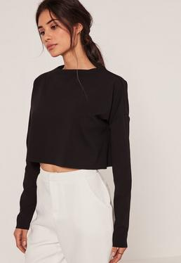 Crepe High Neck Jean Grazer Top Black