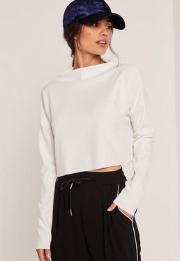Crepe Grown On Neck Crop Top White