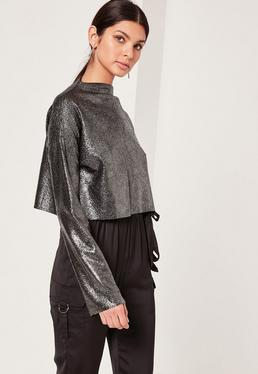 Metallic High Neck Crop Top Silver