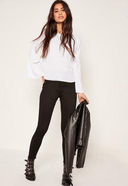 Sheer Ribbed Flared Sleeve Top White