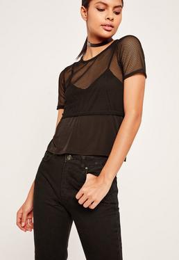 Airtex Mesh Cami Overlay T Shirt Black