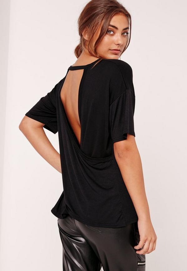 Wrap Back T Shirt Black