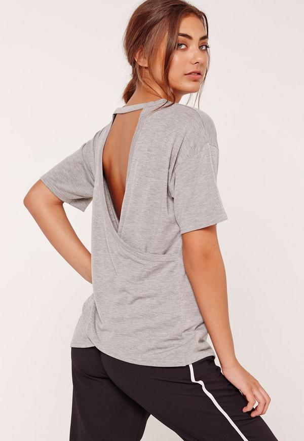 Wrap Back T Shirt Grey