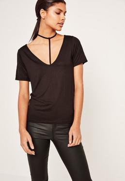T-shirt noir effet harnais