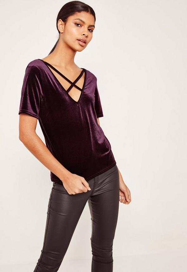 Velvet Cross Front T Shirt Purple