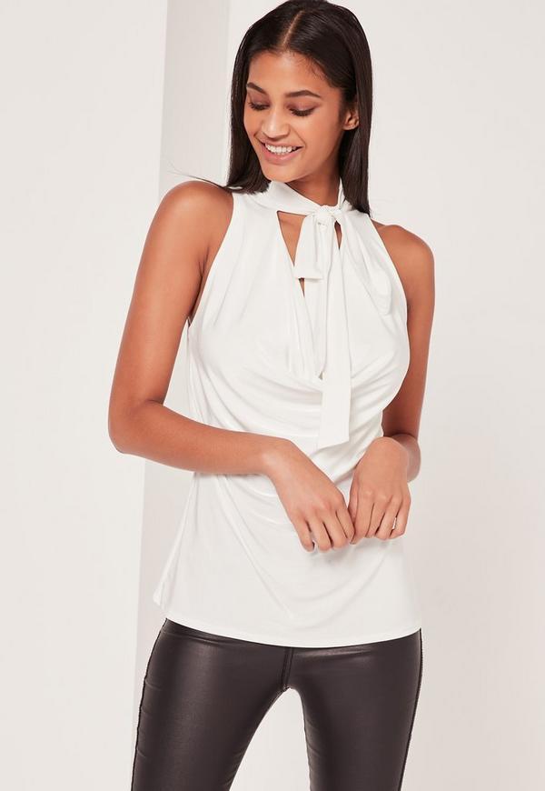 Tie Neck Cowl Vest Top White