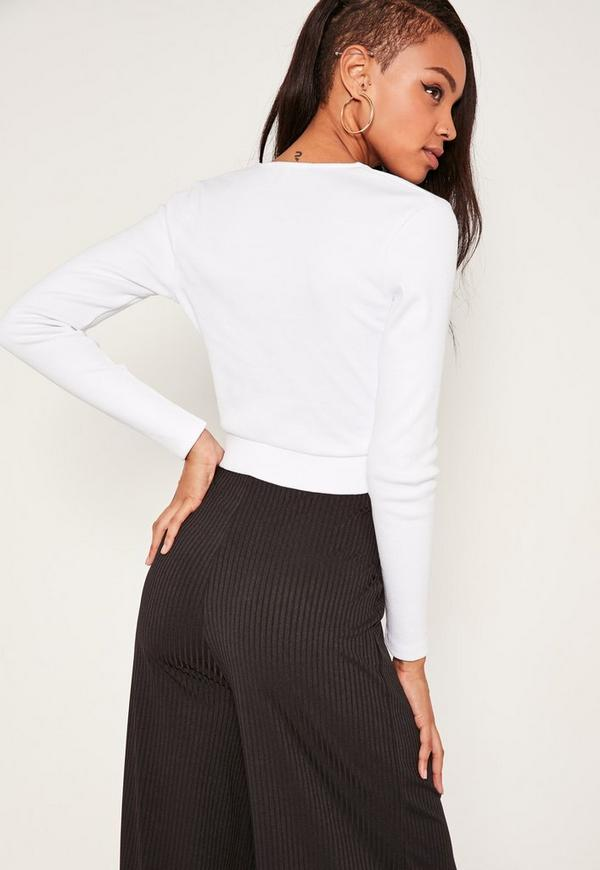 Long Sleeve Wrap Over Ribbed Crop Top white | Missguided