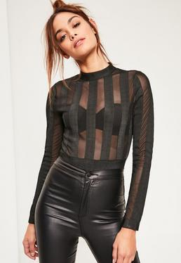 Black Bandage Mesh Stripe Bodysuit