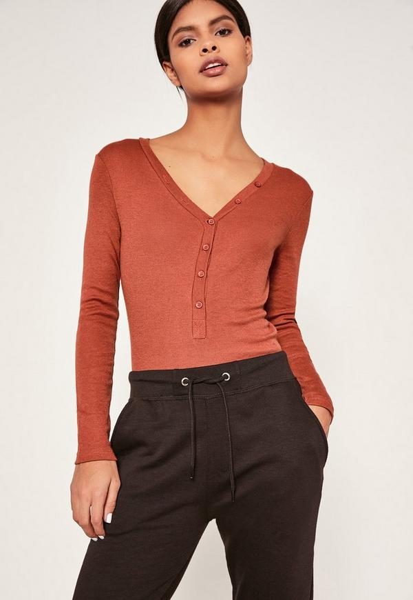 Brown Ribbed Long Sleeve Button Front Bodysuit