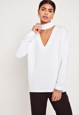 Sweatshirt mit Choker-Kragen in Weiß