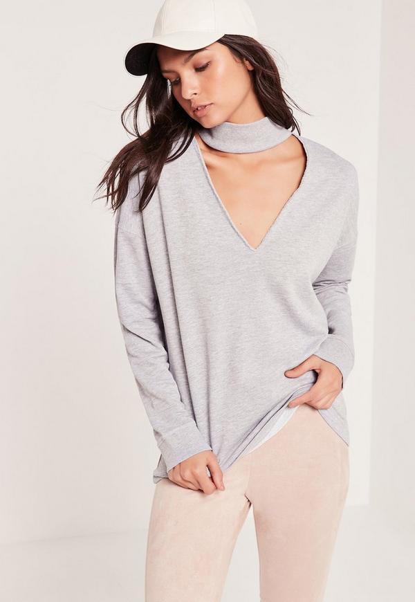 Choker Neck Sweatshirt Grey