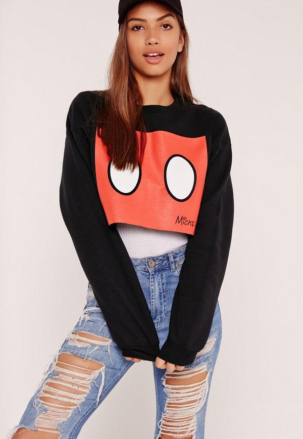 Mickey Mouse Slogan Cropped Sweat Black